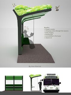 Simple bus pick up With succulents Sustainable City, Sustainable Architecture, Sustainable Design, Landscape Architecture Design, Green Architecture, Bus Stop Design, Parque Linear, Urban Design Diagram, Bus Shelters
