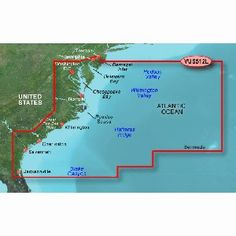 GARMIN VUS512L MID ATLANTIC BLUECHART G2 VISION by Garmin. $50.00. VUS512L Covers:Coverage of the East Coast from Barnegat Inlet, NJ through Jacksonville, FL, to Bermuda. Coverage includes the Delaware River to Trenton, NJ; the Chesepeake Bay in full; the Albemarle and Pamlico Sounds in full; Cape Fear, NC; the Savannah R. to Augusta, GA; and the St. Johns R. to Hastings, FL. Bathymetric coverage from Hudson Canyon to the Blake Escarpment, including the Wilmington Valley...