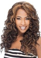Cheap But Good Curly Long Synthetic Lace Front Wig