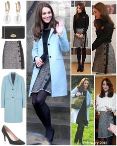 Duchess Kate wore all familiar pieces as she visited the Eastwood Park and Nelson Trust Women's Centre in Gloucestershire today.  I was dearly hoping we would see a repeat of this adorable Mulberry coat! We first saw her wearing it as she boarded the helicopter after marking the 75th anniversary of the RAF Air Cadets back in February; she has never worn it to an official engagement.  The Mulberry 'Paddington' single breasted coat in a wool-blend with mohair. The powder blue coat is from the…