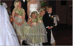 Green infant and toddler flower girl dresses