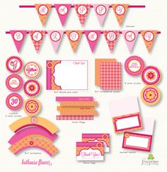 Orange and Pink Hothouse Flowers printable party pack by FrogPrincePaperie