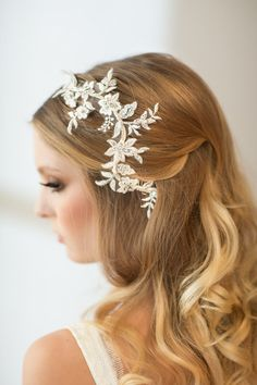 Wedding Hair Vine, Lace Head Piece, Bridal Hair Accessory
