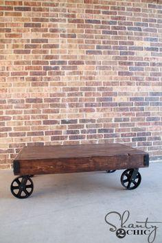 DIY Industrial Cart Coffee Table Plans | rogueengineer.com #DIYcoffeetable #livingroomDIYplans