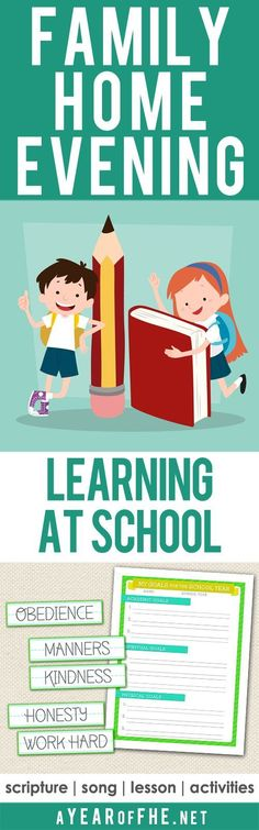 A Year of FHE // Family Home Evening all about the importance of Learning as we attend school. Includes a scripture, song, lesson and activity for younger kids as well as a goal sheet for older kids & teens! #lds #school #smart #homeschoolingforteenslessonplans