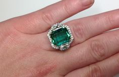 Estate GIA Certified 9 44 CTW Colombian Emerald Diamond Designer Platinum Ring | eBay