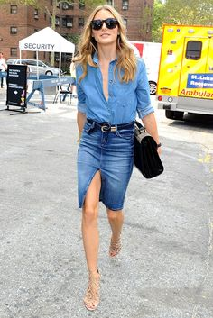 How awesome does Olivia Palermo look here? If you're not rushing out to buy a denim skirt right now, then double denim might really not be the right thing for you. Fashion Mode, Denim Fashion, Look Fashion, 90s Fashion, Womens Fashion, Fashion Trends, Fashion Hacks, Grunge Fashion, White Fashion