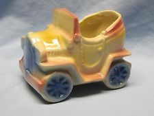 Vintage McCoy Pottery Yellow Pink Blue Car Planter No. 506 USA Cute