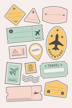 travel icon Travel stickers and badge set vector Album Journal, Scrapbook Journal, Bullet Journal Ideas Pages, Travel Scrapbook, Bullet Journal Inspiration, Bullet Journal Travel, Tumblr Stickers, Cute Stickers, Image Stickers