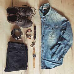 "1,252 Likes, 33 Comments - Fabrizio Politi   Nafi.uk (@misteruniquelife) on Instagram: ""Dress like you are going somewhere better later.. Denim shirt @vintage.jackandjones Denim pants…"""