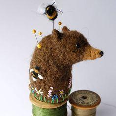 Original Handmade Needle Felted Little Bear and Bee Pin