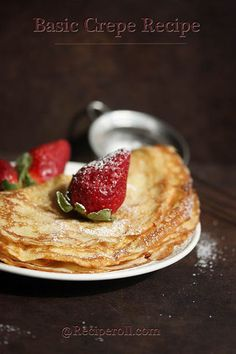 Basic Crepes 2 eggs 3/4 cup milk 1/2 cup water 1 cup flour 3 tbs butter 1/8 ts salt 1 tbs sugar 1. Add all the ingredients to a blender.  2. Blend on low-speed.  3. Place in fridge.  4. Heat medium-sized frying pan on stove over medium heat.  5. Pour 1/4 to 1/3 cup of batter in frying pan and swirl around to spread thin.  6. Cook for 1 minute.  7. Flip/turn over and cook for another 20 seconds.