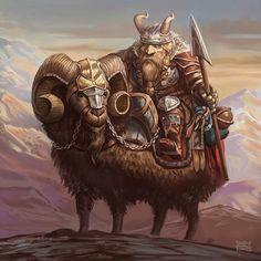 Dwarven mouflon cavalry. Trovejantes by d-torres