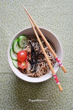 Japanese Soba noodles, thin strips of nori, sliced tomatoes and cucumbers. nommy