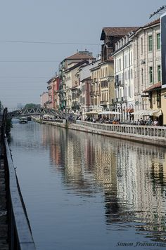 Canal in the Navigli district, Milan, Italy