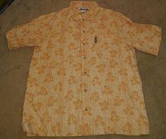 men's Columbia button down shirt size large orange white linen blend