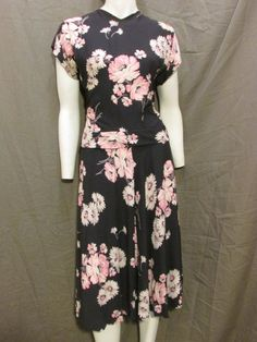 40s 50s Navy Rayon Floral Dress with Peplum by ReesesVintagePieces