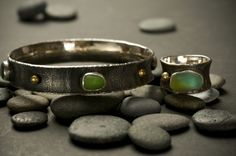 jewelry image of reticulated silver with sea glass, 18kt gold , etched copper