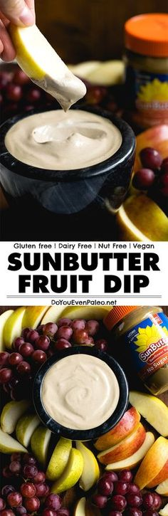 Pair your favorite summer fruits with this Simple Sunbutter Fruit Dip! 5 ingredients and a blender is all you need. Dairy free, nut free, gluten free, and paleo | DoYouEvenPaleo.net