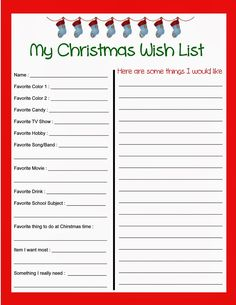 Stout Stop: Christmas Wish List and Kids Letter to Santa!