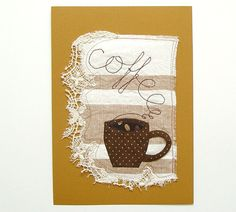 Mixed Media Art Coffee Collage Textile by BozenaWojtaszek on Etsy