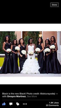 Those black bridesmaid dress are gorgeous