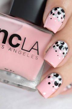 Polka dots · confetti nail art [video tuto]j nail polish designs, nail art designs, Pink Nail Designs, Nail Polish Designs, Nails Design, Polish Nails, Diy Nails, Cute Nails, Nail Nail, Pink Tip Nails, Pink Manicure