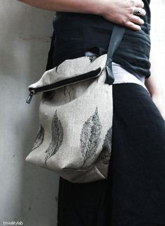 ac334d8518 This bag is hand printed using a real leaf on soft natural linen.  Printpaint that