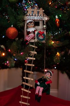 Most current Photo 50 Insanely Easy Elf on the Shelf Ideas + The Ultimate Elf on., current Photo 50 Insanely Easy Elf on the Shelf Ideas + The Ultimate Elf on the Shelf Hack That Will Save Your Sanity Popular Love these elf on t. Elf Christmas Tree, Xmas Elf, Christmas Time, Christmas Crafts, Christmas Ideas, Christmas Snacks, Christmas Countdown, Christmas Elf Decorations, Christmas Carol