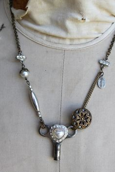 Vintage Key Adorned With Rescued Heart by trinketstotreasures, $55.00
