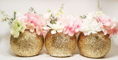 Wedding Centerpiece, Gold Wedding Decor, Baby Shower Centerpiece, Graduation Party Decorations, Glitter Vase, Birthday Centerpiece, Set of 3