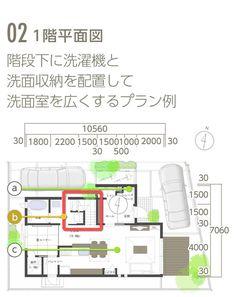 02 1階平面図 階段下に洗濯機と洗面収納を配置して洗面室を広くするプラン例