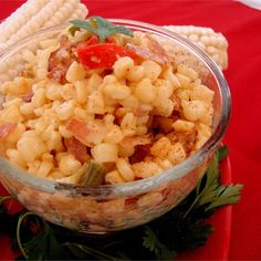"""Cajun Corn and Bacon Maque Choux - Surely, calling a part of dinner """"mack shoe"""" is reason enough to give this a try. The great taste is another. Healthy Side Dishes, Vegetable Sides, Vegetable Side Dishes, Vegetable Recipes, Creole Cooking, Cajun Cooking, Cooking Recipes, Cajun Chef, Cajun Food"""
