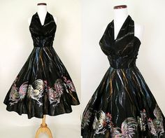 To Die For 1950's Hand Painted Halter Mexican Dress by wearitagain, $498.00. hmmm well, I am not sure whether I would wear chickens but I love the design of the dress itself.