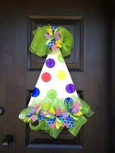 Birthday hat door hanger by shutthefrontdoor2 on Etsy, $40.00