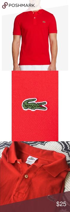 LACOSTE MENS 7 XL RED POLO SHIRT Lacoste men's red polo. Size 7 which is equivalent to an XL. Shirt has been washed a few times but I'm great condition. No holes or stains. I will offer a bundle discount if you purchase the green Lacoste shirt too! Lacoste Shirts