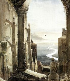 portionsofeternity:  intothedarkwoods:  Alan Lee, Gormenghast  I remember when I was younger and the BBC Gormenghast miniseries came out. It left a really lasting impression on me, and I always find myself daydreaming about its atmosphere of dread and decay and corruption. Plus, albino ravens. The image of Lady Groan and Master Chalk stuck in my head more than anything.And whenever I mention all of this to people my age I get blank stares. Stephen Fry and Christopher Lee were in it, god ...