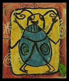 My example This was a fun and quick multi-media art project I originally saw on The Usborne Complete Book of Art Ideas. Primary School Art, Elementary Art, Elementary Education, Art Education, Ancient Egypt Art, 6th Grade Art, Insect Art, Art For Kids, 4 Kids