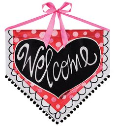 Welcome Heart Banner for Valentines by artist lisA fRosT available NOW! Limited Quantities #banner #heart #red #valentines