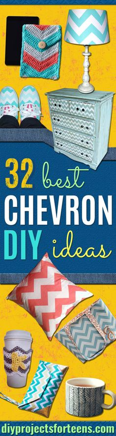 Best DIY Chevron Projects - DIY Wall Art, Home and Room Decor, Canvas Crafts With Chevrons, Furniture and Chairs, Decorations With Paint Ideas Using Chevron Patterns for Bedroom, Bathroom and Teens Rooms. Learn How To Tape Chevron Art With Easy To Follow Step by Step Tutorials http://diyprojectsforteens.com/diy-projects-chevron