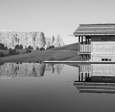 Pool in the mountains at Adler Mountain Lodge, Alpe di Siusi, South Tyrol, Italy.
