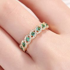 Emerald Wedding Band Women White Gold Vintage Unique Diamond Half Eternity Art Deco Infinity Twisted Bridal Stacking Promise Gift for her Celtic Wedding Rings, Diamond Wedding Bands, Fashion Rings, Fashion Jewelry, Jewelry Model, Cute Rings, Emerald Jewelry, Vintage Engagement Rings, Bracelet Set