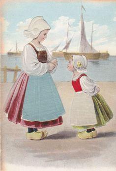 Vintage Dutch postcard embossed and flocked