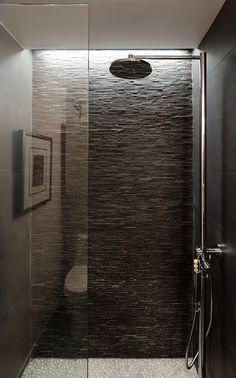 Houston Loft by C O N T E N T Architecture | Home Adore. Shower Detail & Backsplash, sexy & sleek