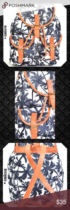 JUST INBlack Palm Tree Canvas Backack New Palm Tree Cali Canvas Bagpack  Color: Black  Fabric: Polyurethane, Cotton  Size: 15.75W *14.25H *6D   Style: Canvas  Made In China  Price firm unless bundled Sorry, no trades Lowball offers will be ignored Glam Squad 2 You Bags Backpacks