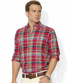 Polo Ralph Lauren Shirt, Custom-Fit Long-Sleeve Plaid Twill Shirt