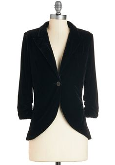 Velvet & Lace Clothing and Accessories - Fine and Sandy Blazer in Black Velvet