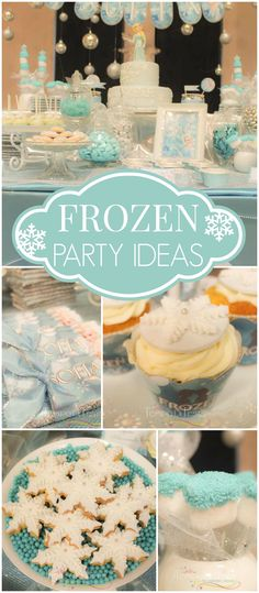 How pretty is this blue and white Frozen party? See more party ideas at CatchMyParty.com!