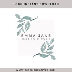 Modern Watercolor Logo with Fine Art Leaves   Neutral Branding   Earth tones Color Palette   Minimalist, feminine, rustic, luxe branding for small businesses and blogs >>
