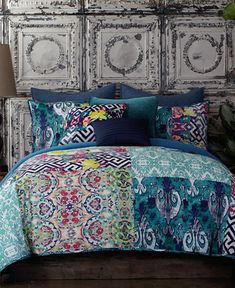 Make a bold bedding statement with the Tracy Porter Florabella quilt. Mixed and matched floral and geometric patterns create a perfect balance in vibrant blues with pops of yellow, pink, green & purpl King Quilt Bedding, Queen Comforter Sets, Queen Quilt, Bedroom Themes, Bedroom Decor, Bedrooms, Bedroom Ideas, Bedroom Designs, Bed Sets